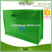 Custom punching green non woven tote bag with button , shopping bag