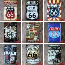 Wholesale Wall Hanging Decorative Route 66 Advertising Vintage Metal Tin Sign