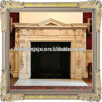 Fine craft beige marble fireplace mantel