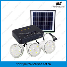 solar mobile charger with 3 LED bulbs for lighting