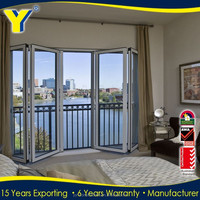 Australian standard aluminum accordion partition/double glazing soundproof folding doors