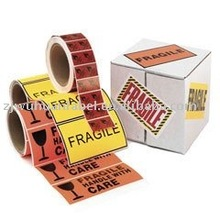 Fragile seal shipping label