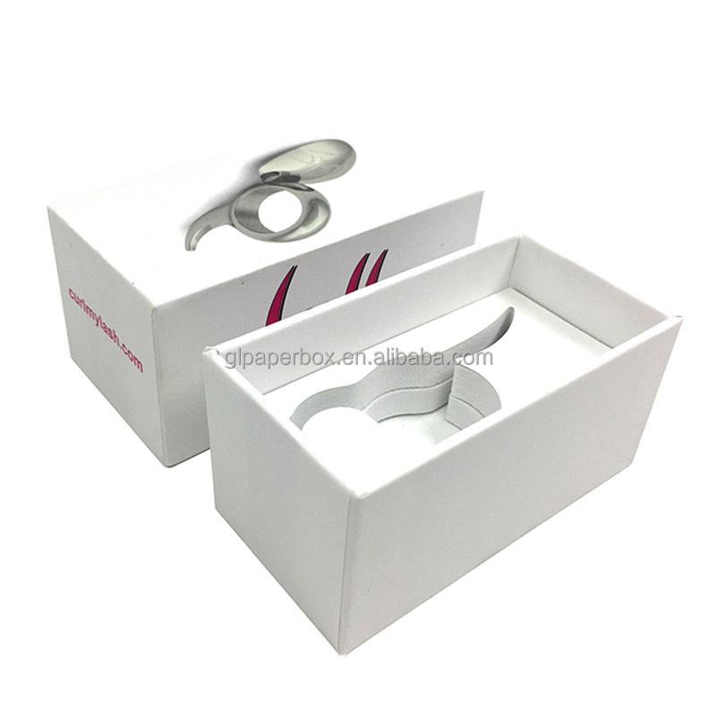 high quality white fine touch paper eyelash curler packaging gift box