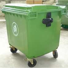HDPE green printed rubbish bin cover 1100 Liter recycle trash bin with square cover