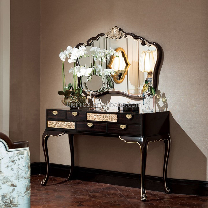Classic Chinese antique bedroom furniture solid wood hand carved dressing table with mirror
