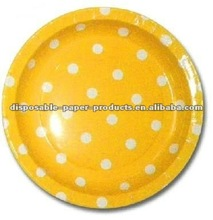 Yellow Polka Dots Stripes Paper Lunch Plates 23cm/9inch pack of 12 or 8