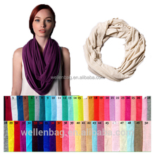 OEM!!! Fashion Unisex Cheap Plain Solid Jersey Snood Neckwarmer Circle Loop Shawl Custom Infinity Scarf for Women