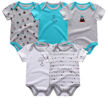 new arrival short sleeve footprint stripe pure color lovely dog pattern summer baby clothes