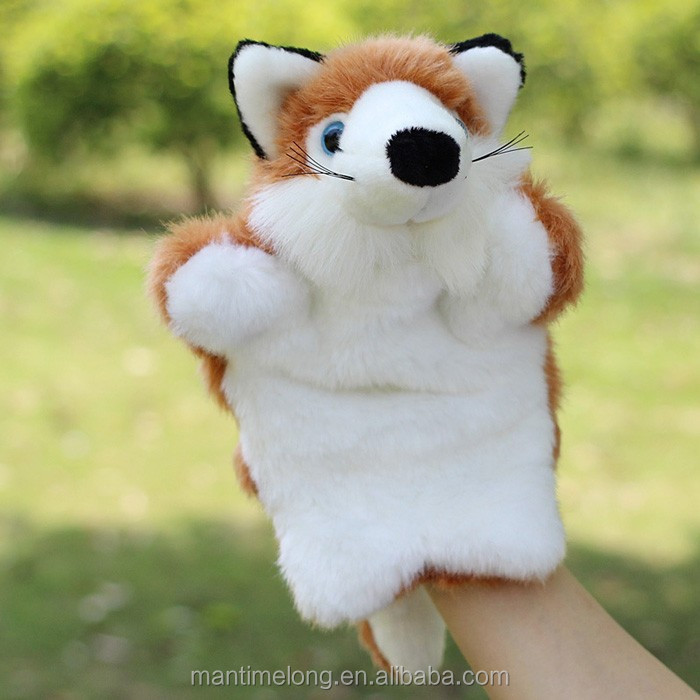 Fox Shape Plush Toy Puppet educational Animal Hand Puppet Doll Finger Puppet