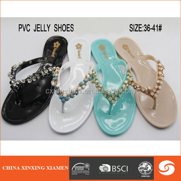 2015 wholesale lady pvc sandal with flower decoration