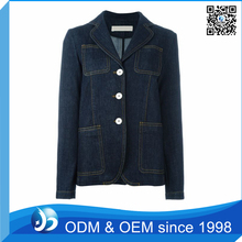 OEM Service Half Sleeve Formal Women Denim Blazer Jacket