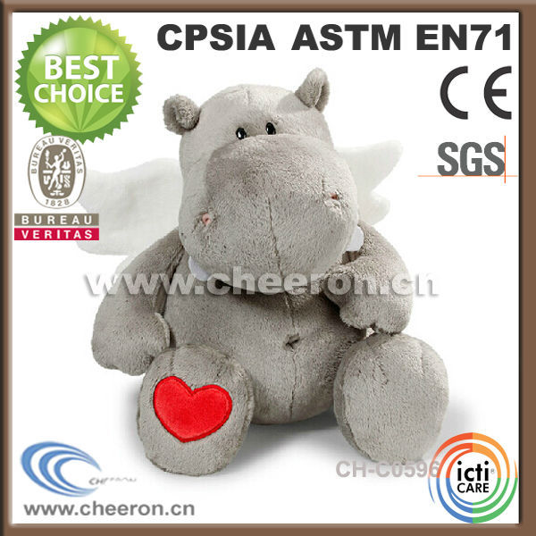 Many shapes and colors plush valentine hippo with white wings
