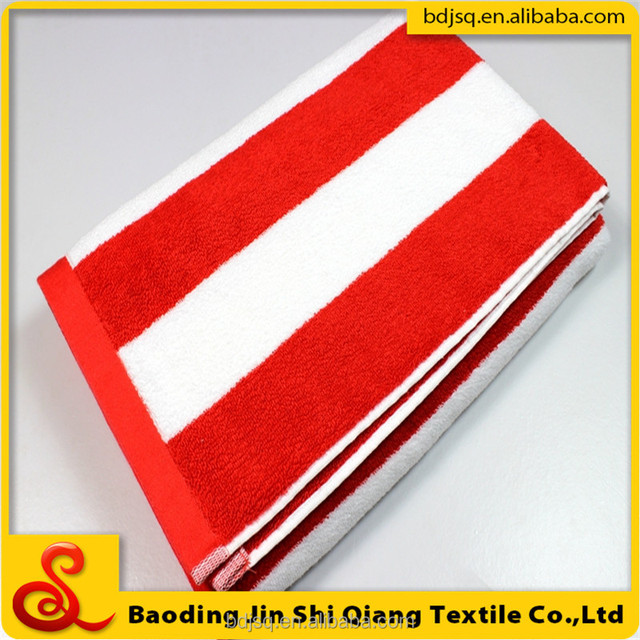 Wholesale China export Canada 100% cotton luxury terry towel striped pool towel bath towel