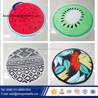 100% cotton round beach towel, watermelon shaped custom printed towel with tassels