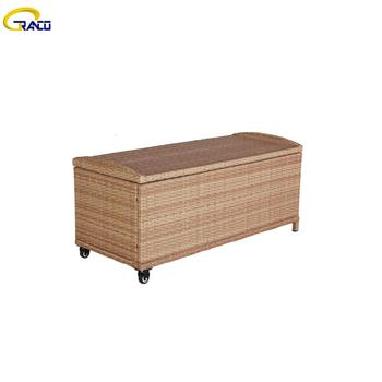 Garden rattan  outdoor  cushion box high quality rattan cushion box