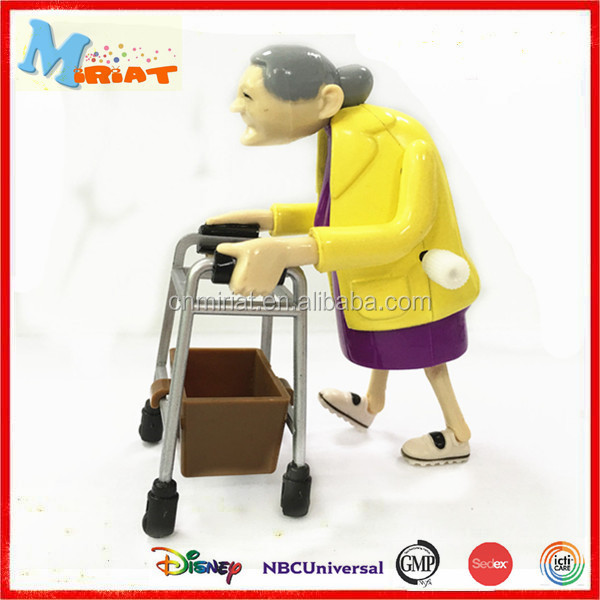 Hot sale plastic funny wind up granny action figure toy