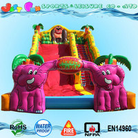 jungle mania big slides for sale, double elephant arch slide trampoline for kids