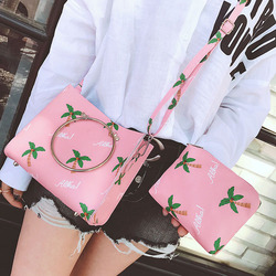 Wholesale fashionable simple new desigh summer printing lady central bracelet coco leather bag