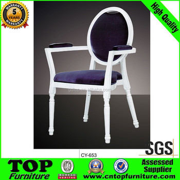 Newest Classy Hotel Metal frame dining chairs with arms