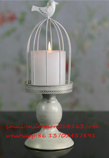 metal candle holder decoration, bird cage candle holder
