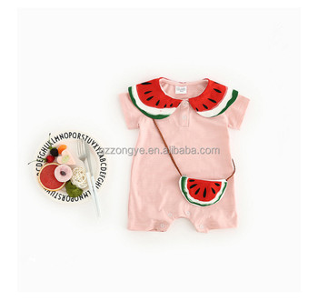 Chic lovely cartoon printed 100% cotton short sleeve baby girls Rompers