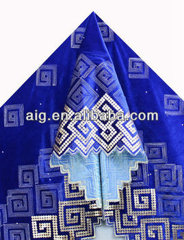 African Velvet Lace Fabric, Velvet Lace with sequins ,5985 ROYAL BLUE