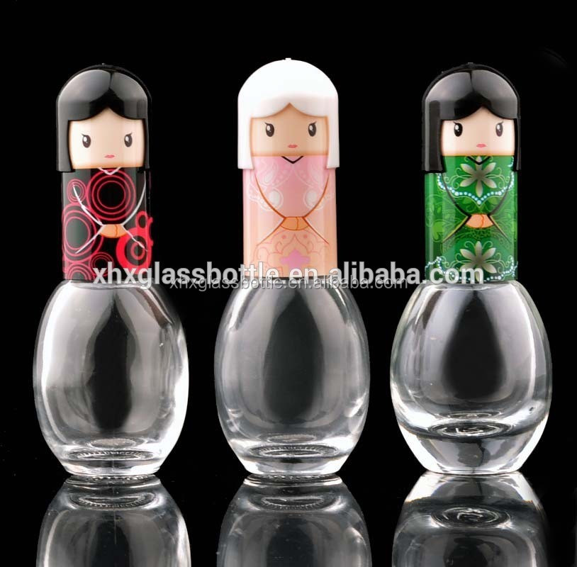 18Ml 15Ml Egg Oval Shape Nail Polish Glass Bottle With Cute Carton Cap And Brush