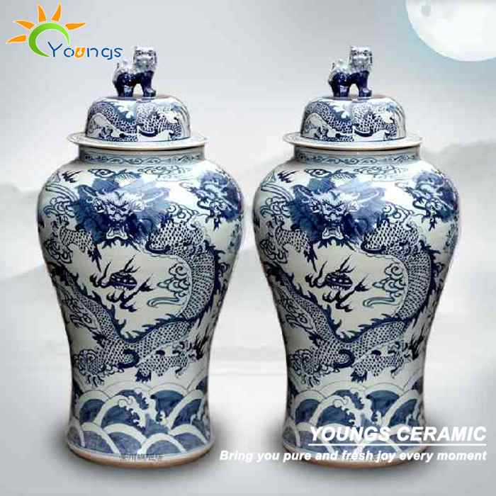 Luxury 1.2 mTall Chinese Hand Paint Dragon Design Large Ginger Jar Vases