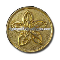 Zinc alloy raised metal badge with high polish