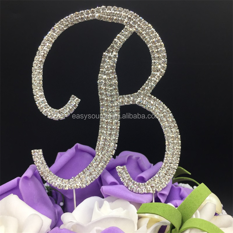 Rhinestone Crystal Wedding Cake Topper Letters A to Z cake topper Wedding Engagement Birthday party Cake Decor