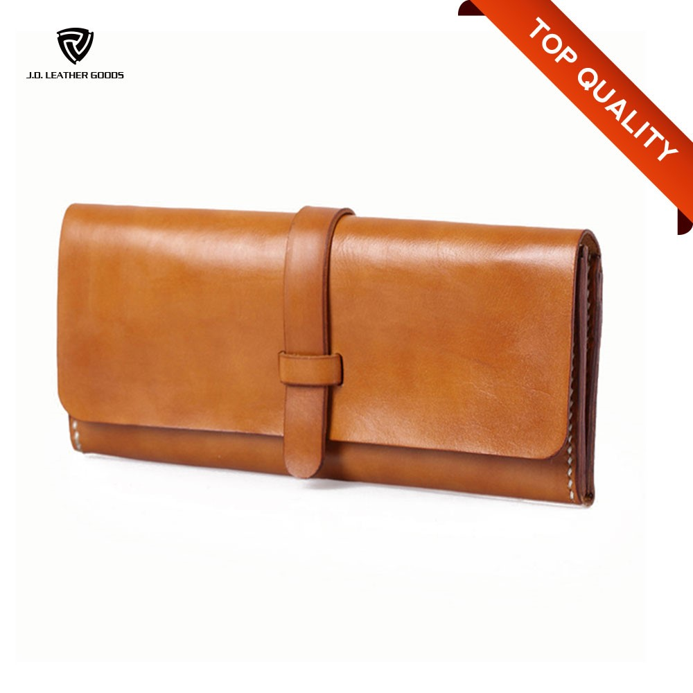 Men Customized Long Vegetable Tanned Leather Hand Wallet Manufacturer