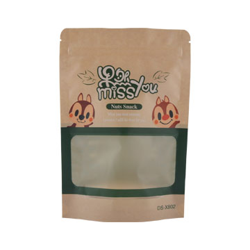 Frosted Surface Customized Shape Window In The Front Metal Interior Self Seal Kraft Paper Bags For Packing Dry Fruits Seeds