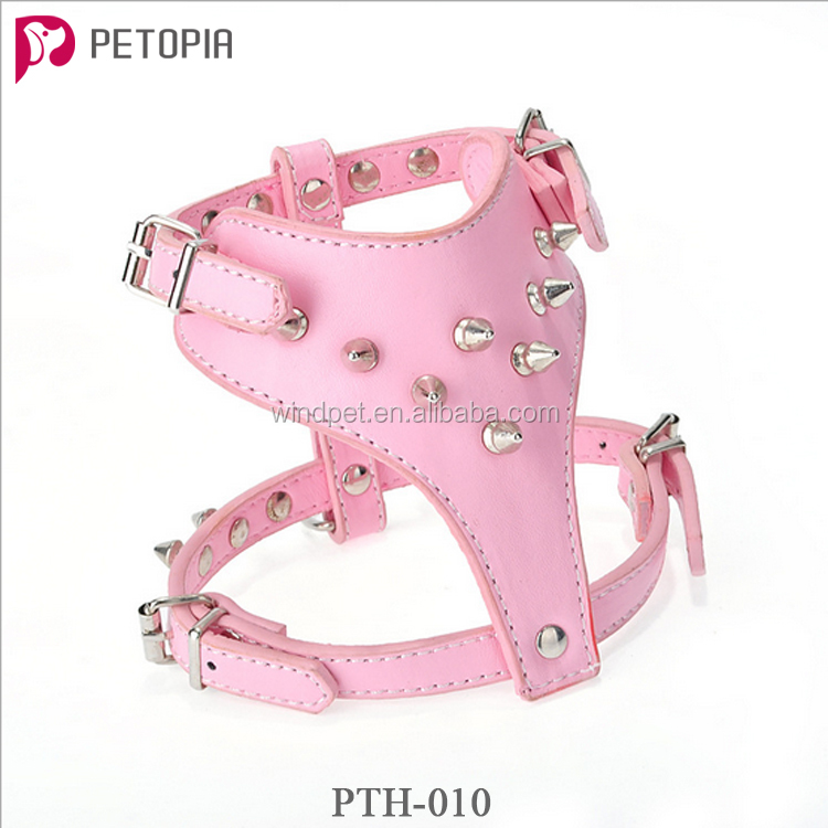 Hot Pink Leather Dog Harness Collar Leash Set