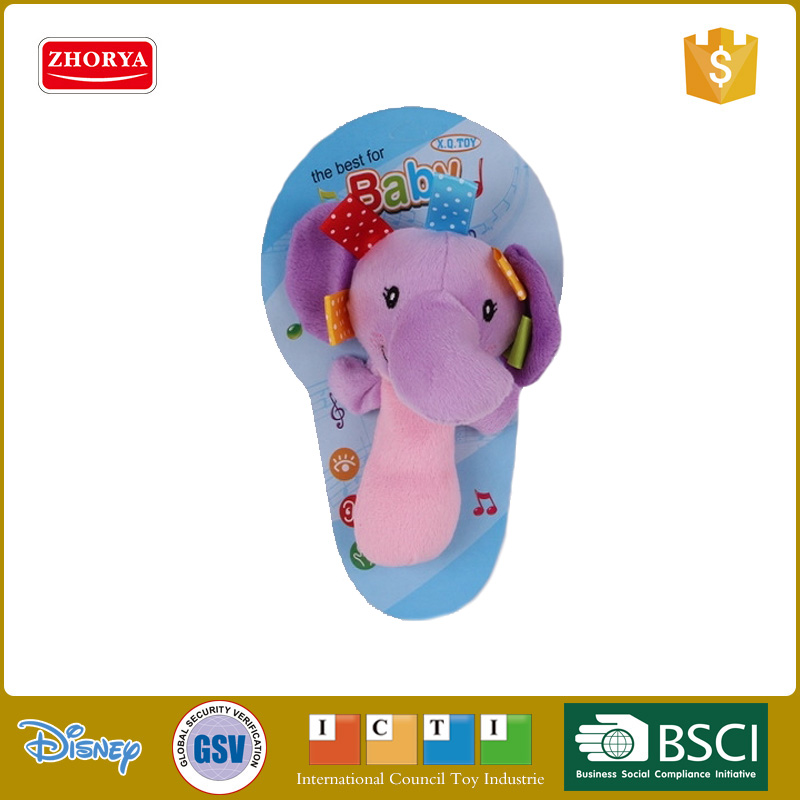"Hot Sell 6"" Animal Design Elephant Baby Hand Bell Rattle Plush Stuffed Funny Baby Toys"
