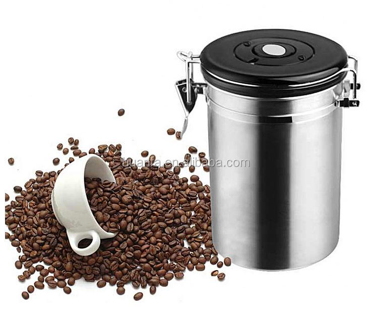 High quality 1.5/1.8 L Coffee Tea Sugar Storage Tanks Sealed Cans 18/8 Stainless Steel Canisters for Kitchen Storage Jars