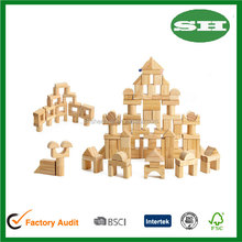 Wooden Blocks 100 pcs Wood Building Block Set with Carrying Bag and Container