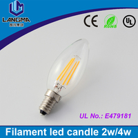 E14 2W 4W 6W 120V 220V LED Filament Candle Bulbs 360 Degree cob light bulb Dimmable Lamp White/ Warm white Replace Halogen