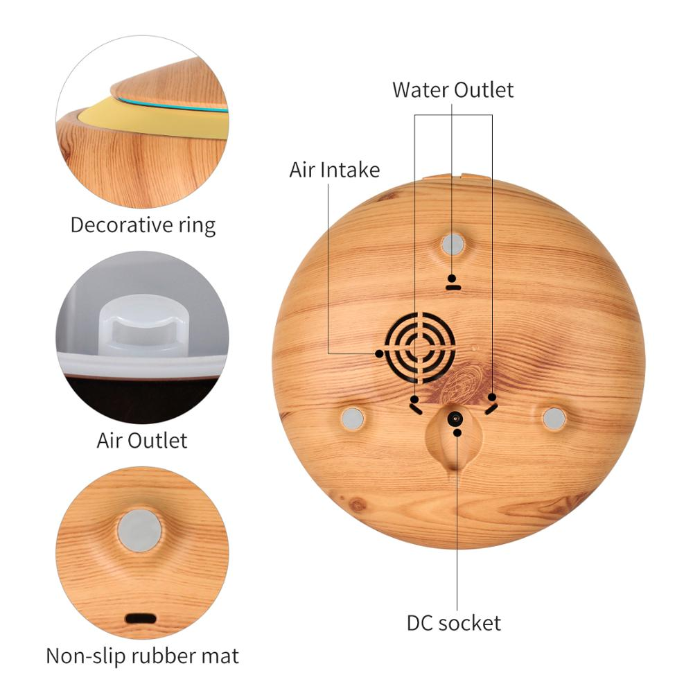 2017 factory new 150ml Dish shape essential oil diffuser wood grain aroma diffuser ultrasonic scent humidifier with led ring