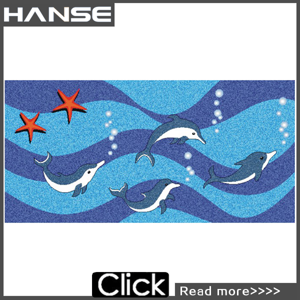 PT351 12x12 colorful dolphin swimming pool mosaic design
