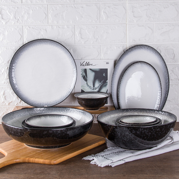 Matt Ceramic Plates Gradually changing color Black Ceramic Tableware serving bowl dish plate set