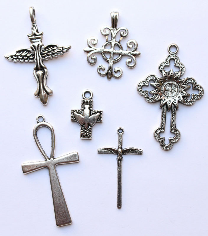 Cross Pendants Charms Silver Metal Alloy Jesus Christian Ankh Dove of Peace Faith Fleur de Lys