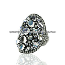 Natural Pave Diamond Wholesale Handmade Designer Natural Rainbow Moonstone Wedding Antique Vintage Cocktail Ring Jewelry