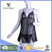 OEM Service Perspective Gauze Elasticity Black Sexy Lingerie Dress Hot Sex Women Image Lingerie
