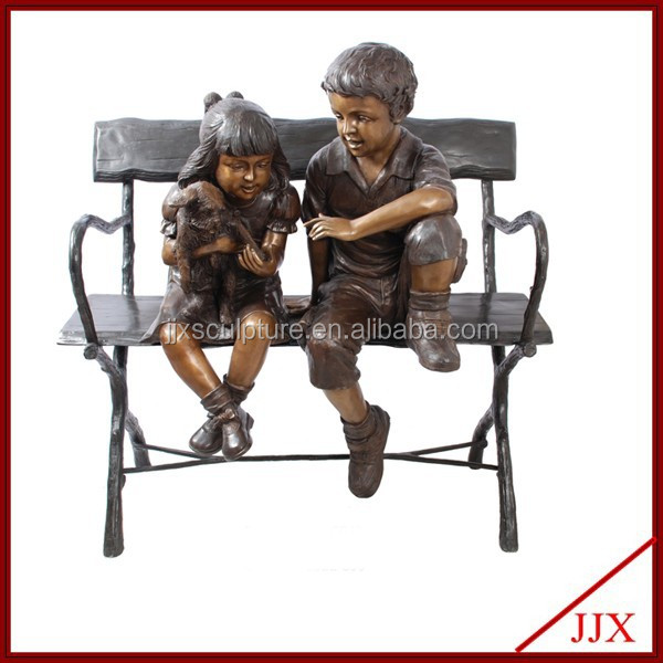 Bronze Boy And Girl Statue For Garden Decor