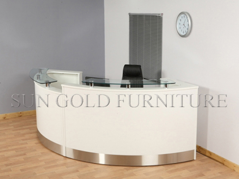 Modern Curved High Glossy White Salon Reception Desk sz