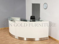 Modern Curved High Glossy White Salon Reception Desk (SZ-RT005)
