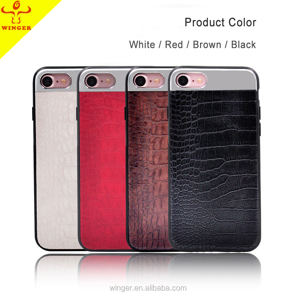 2017 New Phone Case brushed aluminium and pu leather phone case for iphone