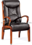 Genuiine leather wooden frame executive chair without wheel(FOHF-21#)