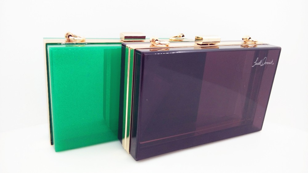 Colorful and luxury transparent or colorful acrylic clutches and purses with chains made in China