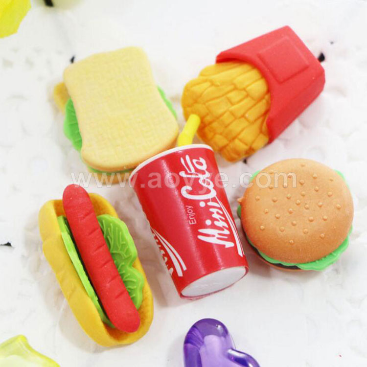 Wholesale student creative stationery 3d fake emulated burger fries hot dog shape food plastic soft rubber eraser